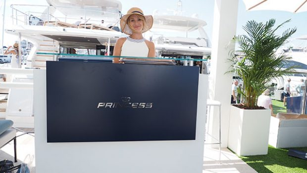 The World Premiere of Princess 62 making a splash at the Cannes Yachting Festival