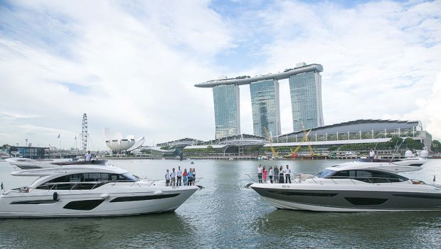 Princess Yachts adorned the panoramic waterfront of Marina Bay