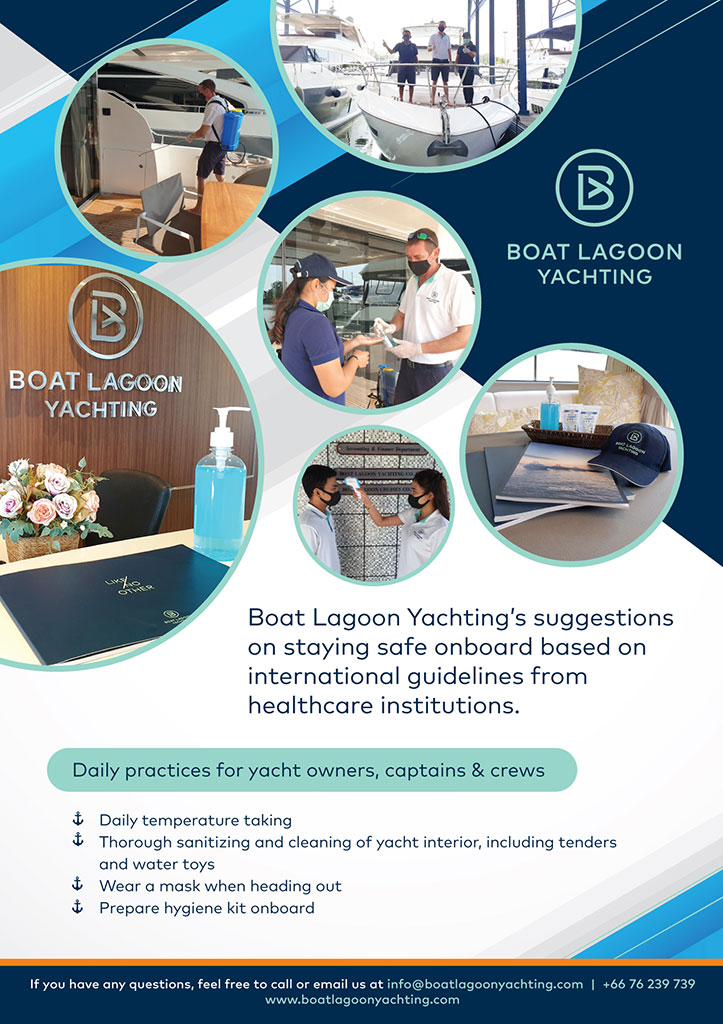 Boat Lagoon Yachting's suggestions on staying safe onboard based on international guidelines from healthcare institutions.
