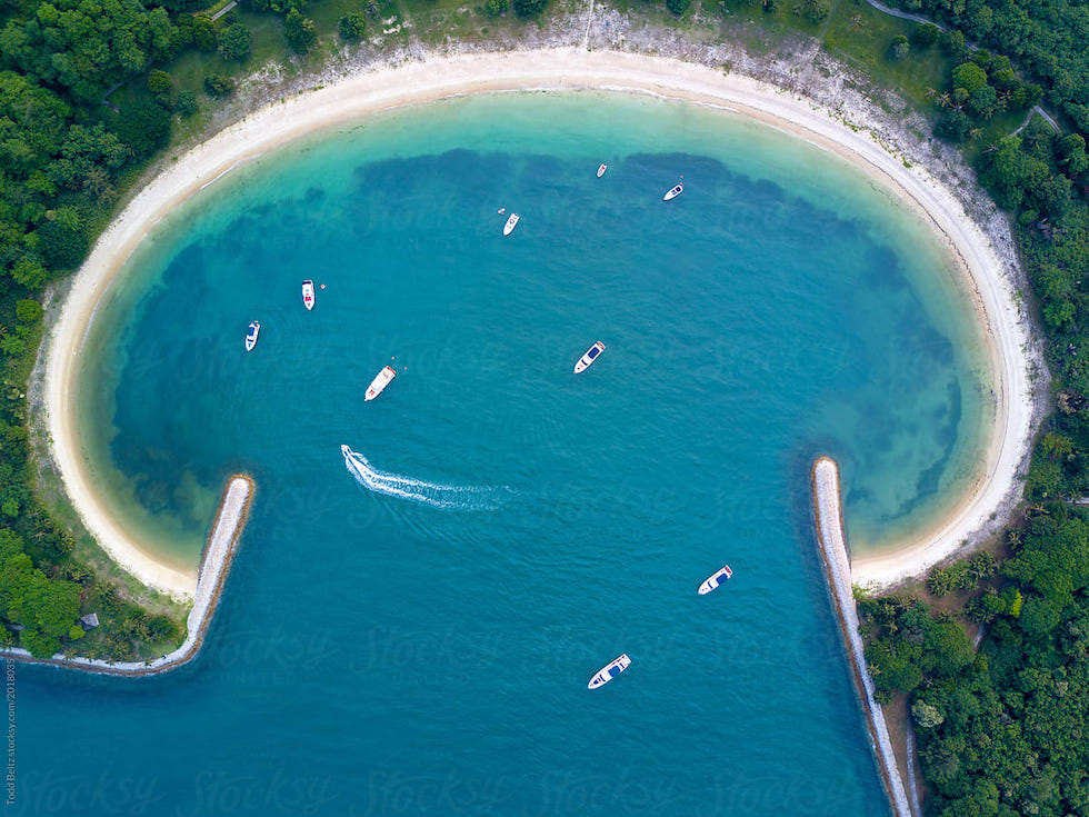 Lazarus Island in Singapore from the sky